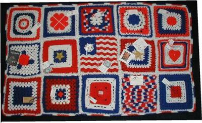 Heroghan using 12 inch squares made by 15 different ladies around the USA