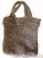 crocheted felted bag with loop stitch edge