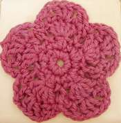 Brooch with Seed Beads, Thread and Twine-Crocheted Flowers - Fire