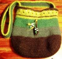 Green beaded felted bag