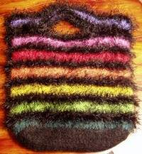 Rainbow fun fur purse