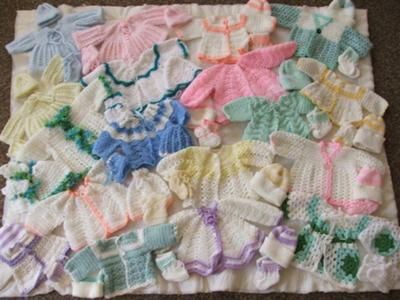 Handmade baby sets lovingly made for the premature babies at the state hospital at Ladysmith, South Africa